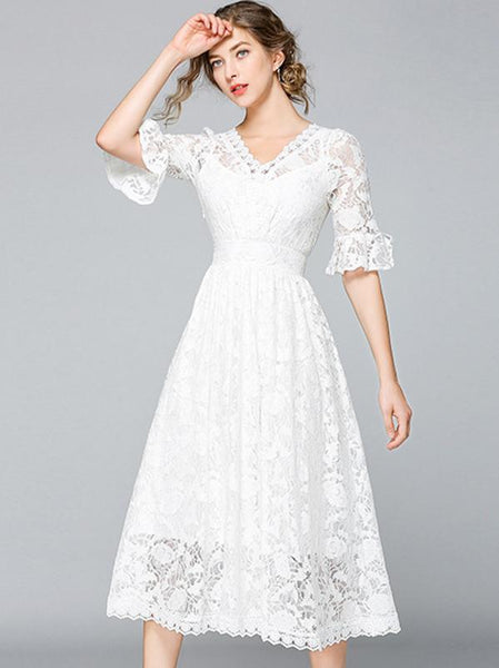 White Ruffles sleeve Lace Pure Color A-line Dress