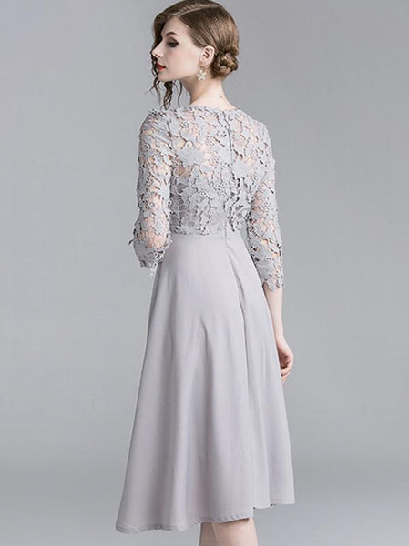 Grey Lace Hollow Out 3/4 Sleeve Slim A-line Dress