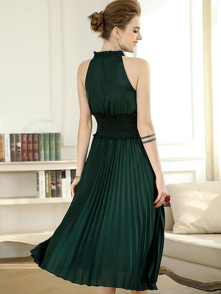 Party Sling Sleeveless Slim Pleated Evening Skater Dress