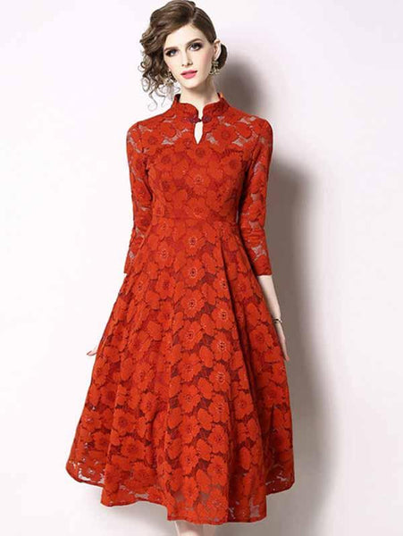 3/4 Sleeve Stand Collar Lace Big Hem Skater Dress