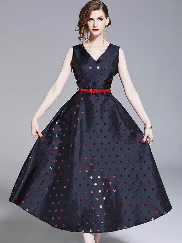 Elegant V-Neck Spot Sleeveless Party A-line Dress