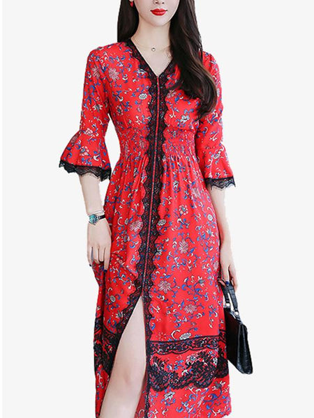 Silm Floral Split Flare Sleeve Big Hem Dress