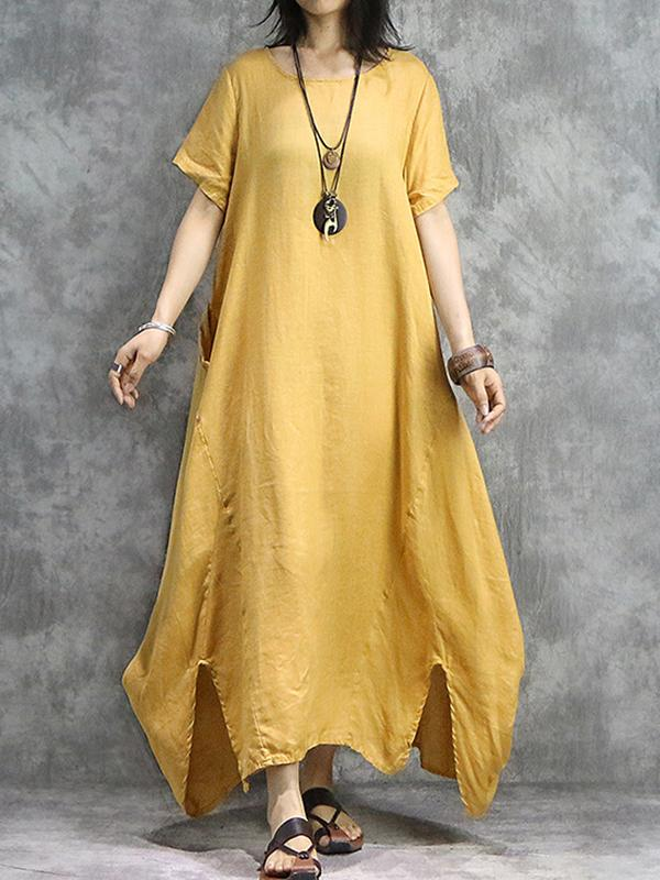 Ethnic Loose O-Neck Yellow Big Hem Maxi Dress