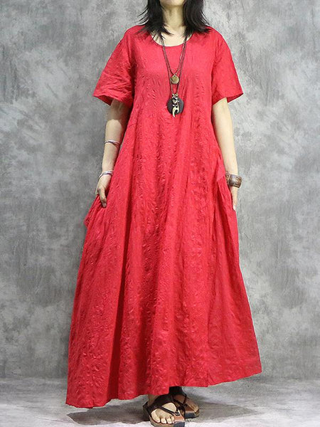 Pure Color British O-Neck Loose Maxi Dress