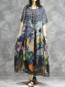 Elegant O-Neck Chinoiserie Half Sleeve Maxi Dress