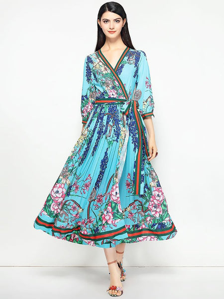 Vintage Sashes Half Sleeve Lacing Print Maxi Dress