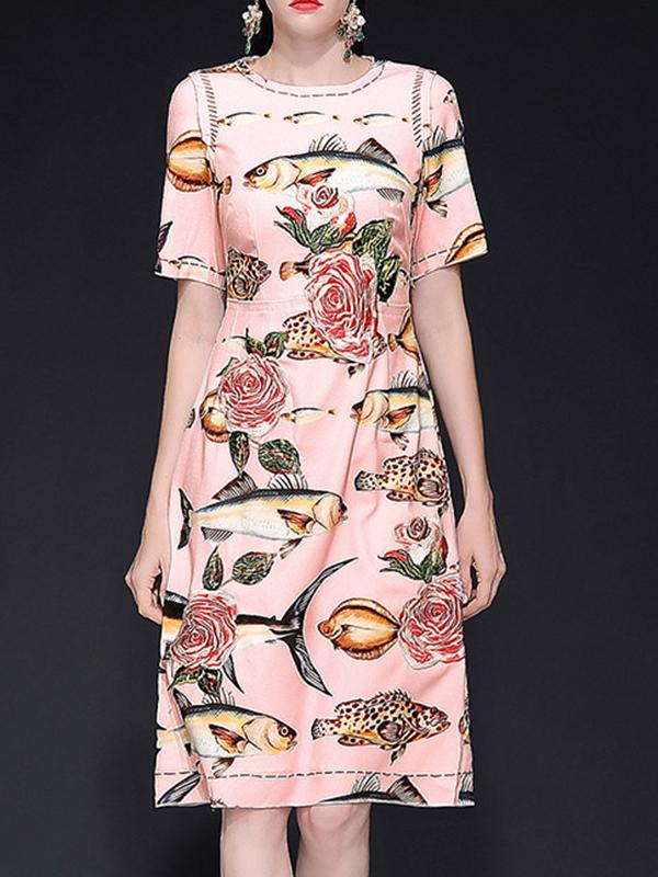 O-Neck Floral Embroidery Ink Print A-Line Dress