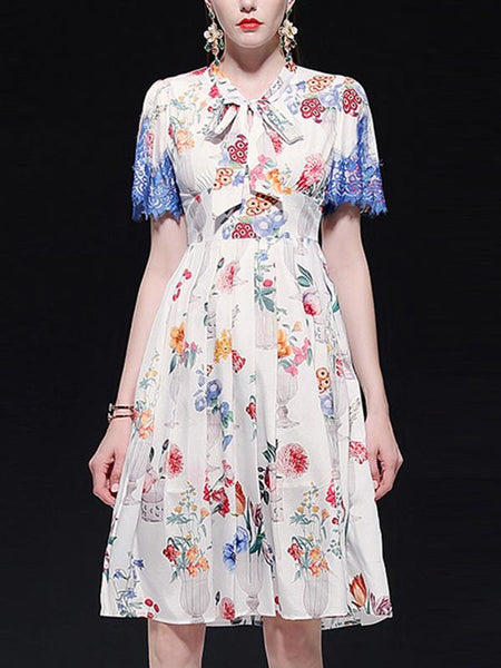 Fashion Bowknot Stitching Lace Floral Skater Dress
