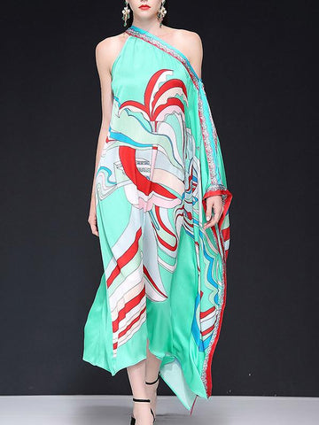 Holiday Strapless One Shoulder Asymmetric Print Maxi Dress