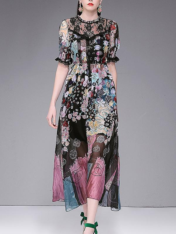 Vintage Chiffon Stand Collar Floral Tiered Lace Maxi Dress