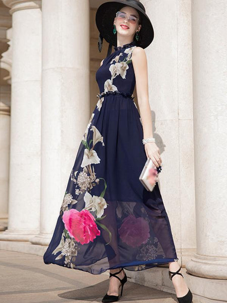 Fashion Stand Collar Ink Print Big Hem Dress