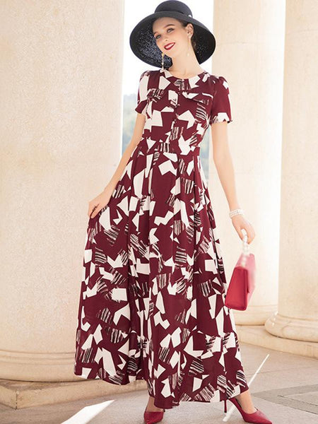 New Style O-Neck Color-Block Elegant Big Hem Maxi Dress
