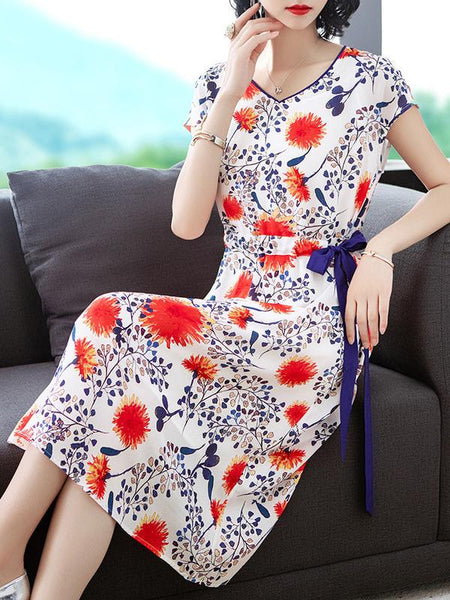 Ink Style V-Neck Bow Tie Lacing Gathered Waist Print A-line Dress