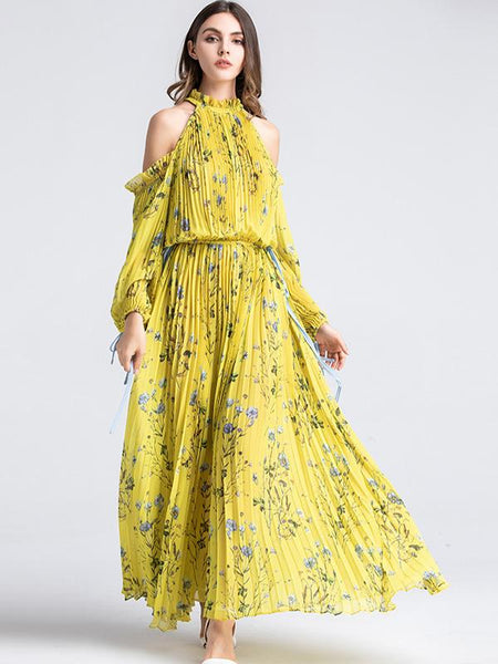 New Style Ruffled Strapless Floral Chinoiserie Maxi Dress