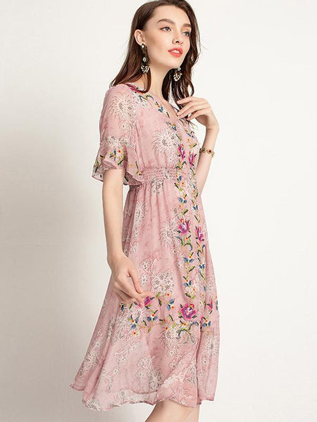 Suave Embroidery Flare Sleeve Elastic Waist Big Hem Maxi Dress