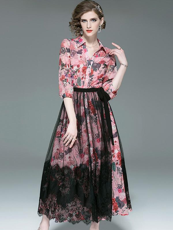 Vintage Mesh Outer Ink Style Print Turn-Down Collar Maxi Dress