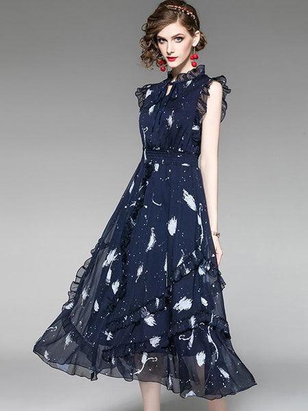 Elegant Flounced Lace Tie Collar Collect Waist Print Maxi Dress