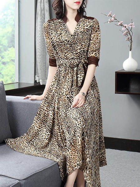 Casual Leopard Printed Stitching Sashes Asymmetric Maxi Dress
