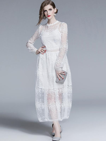 Exquisite Puff Sleeve Stereoscopic Embroidery Long Sleeve Maxi Dress