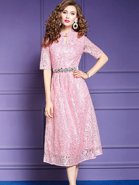 Chic Lace Patchwork Stand Collar Gathered Waist Slim Maxi Dress
