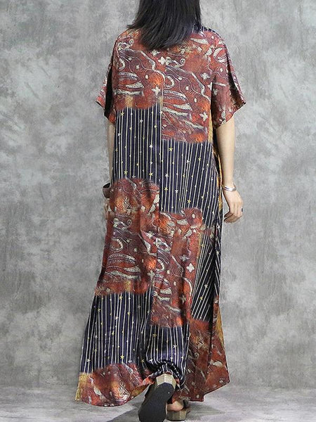 Casual Silk Asymmetric Colorant Match Stitching Maxi Dress