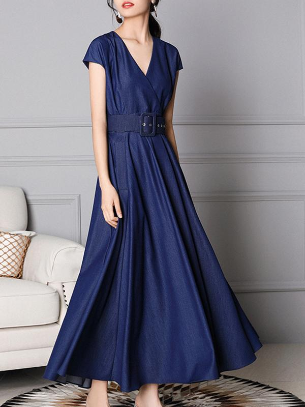 Casual Belt Denim Gathered Waist Solid Color Maxi Dress