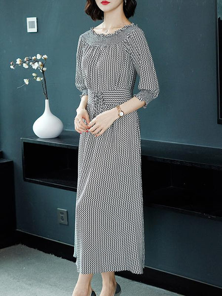 Stylish Houndstooth Boat Neck Big Hem Silk Maxi Dress