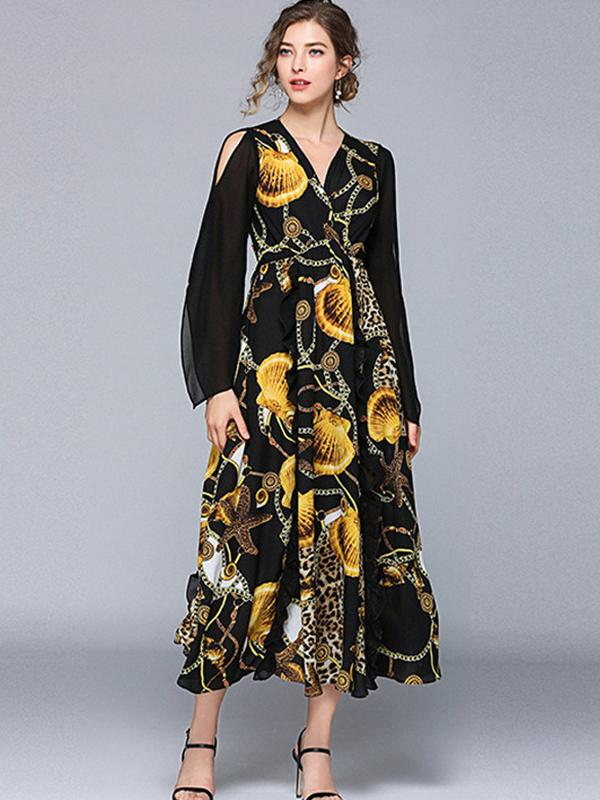 Holiday Asymmetric Floral Pattern V-Neck Big Hem Maxi Dress