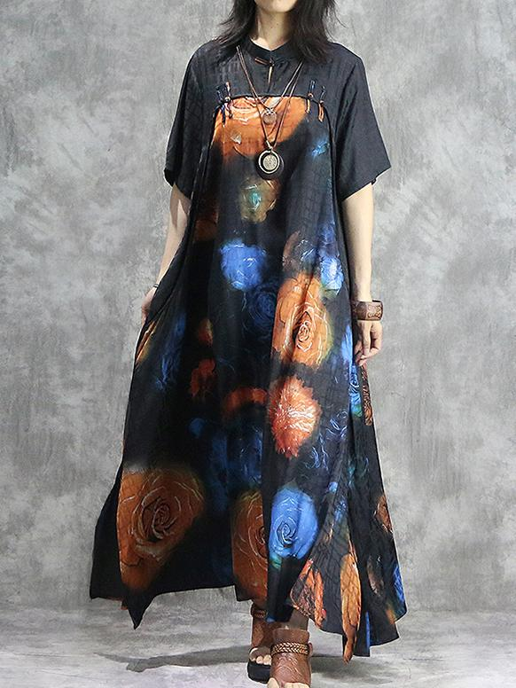 Printed Irregular Stand Collar Gown Cheongsam Maxi Dress