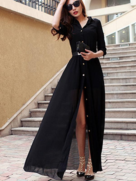 Simple Pocket Shirt Sleeves  Collect Waist Maxi Dress