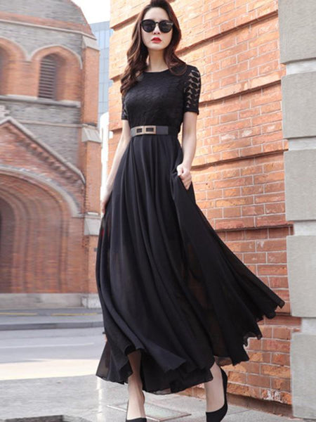 Elegant Sashes Pure Color High Waist Maxi Dress