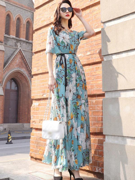 Folk Chiffon High Waist Big Hem Beach Dress