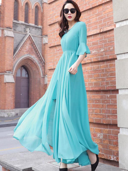 Simple V-Neck Elastic Waist Solid Color Maxi Dress