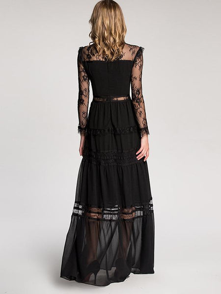 Retro Lace Stitching Perspective Maxi Dress