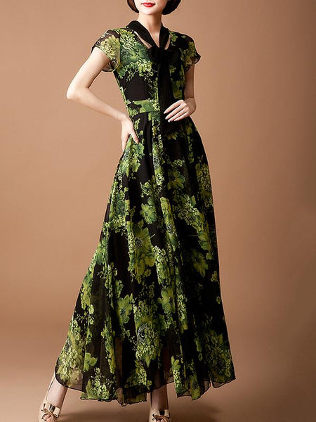 Ink Style Bowknot Lacing Print Big Hem Maxi Dress