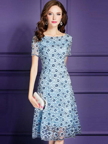 Elegant Floral Lace High Waist Fit & Flare Dress