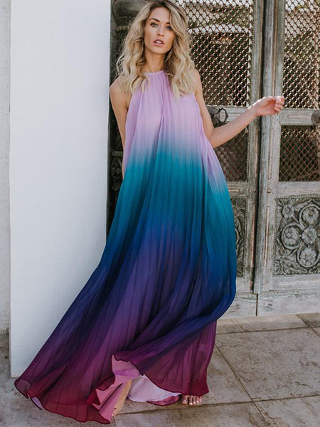 Chic Pure Color Chiffon Sleeveless Maxi Halter Dress