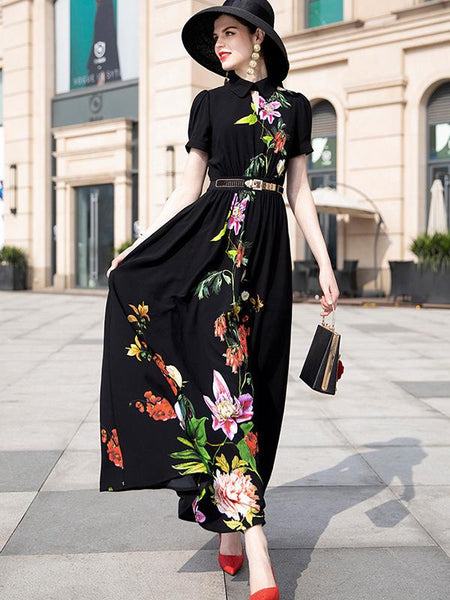 Elegant  Turn-Down Collar Floral Print Maxi Dress (No Belt)