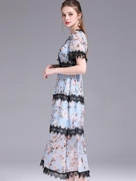 Embroidery Lace Stitching Mesh Print Maxi Dress