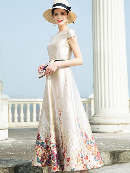 Elegant Jacquard Big Hem High Waist Maxi Dress