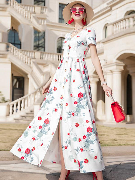 Single Breasted Vintage Floral Print Maxi Dress