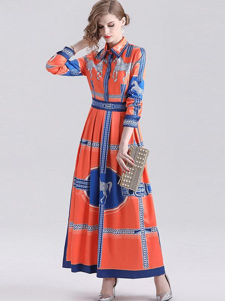 Big Hem Turn-Down Collar Orange Print Maxi Dress