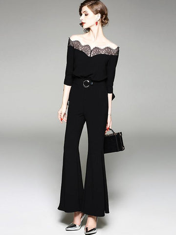 Exquisite Boat Neck Perspective Lace Flared Jumpsuits