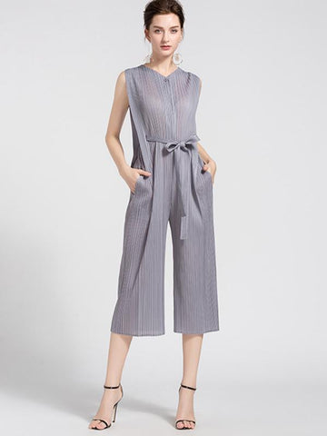 Grey Ruffled Lacing High Waist Straight Jumpsuits