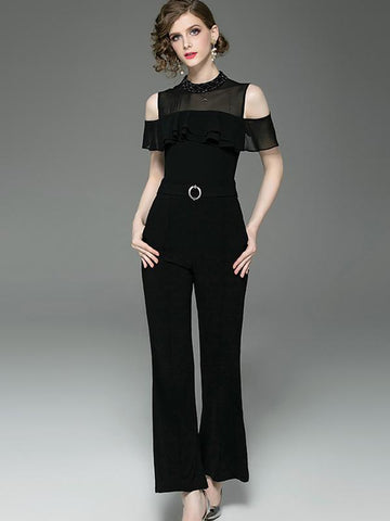 Off-The-Shoulder Decoration Lotus Sleeves Flared Jumpsuits
