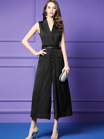 Black Lapel Collar Sashes Button Wide Leg Jumpsuits
