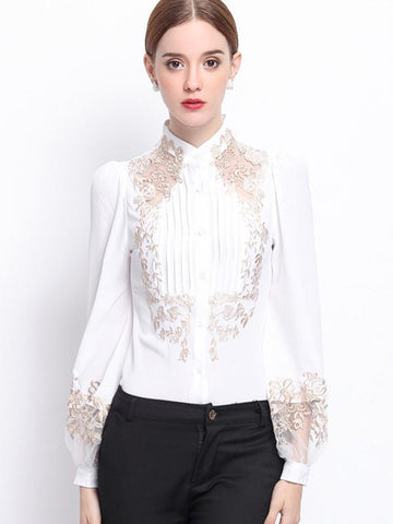 Embroidery Hollow Out Stitching Stand Collar Blouses
