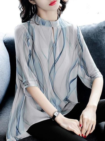 Simple Wave Print Stand Collar 3/4 Sleeve Blouses