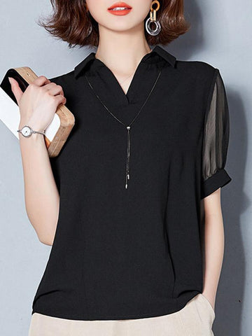 Black Mesh Perspective Patchwork Casual Blouses