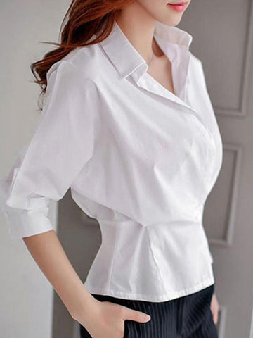 Simple White Ruffled Slim V-Neck Blouses